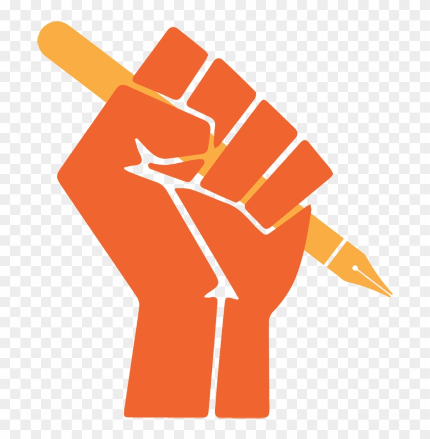 Illustration Of A Hand Holding Pen, In A Powerful Fist - Black Power Fist #