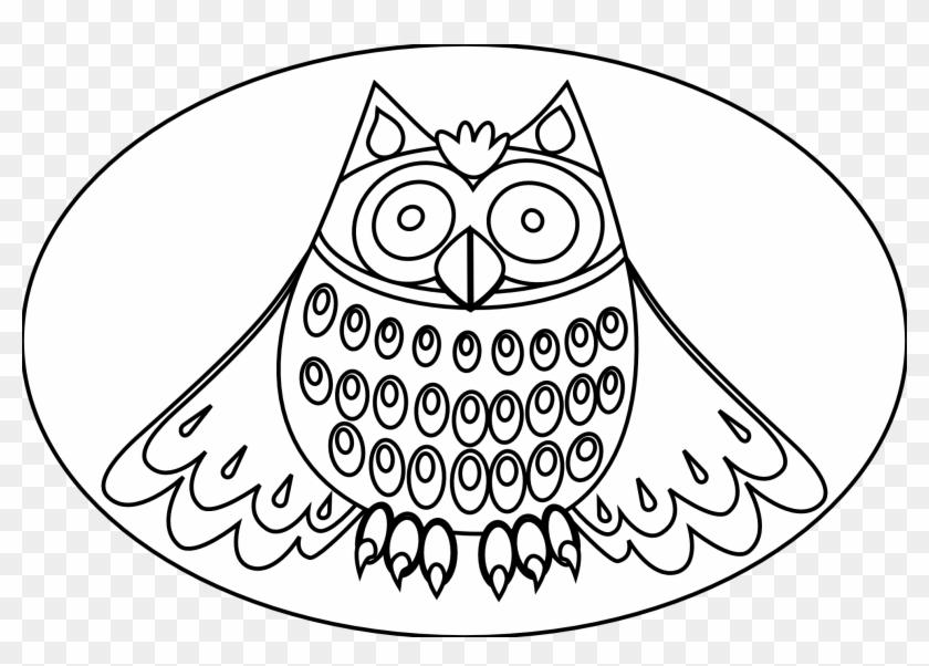 Cute Owl Black White Line Art Scalable Clipart