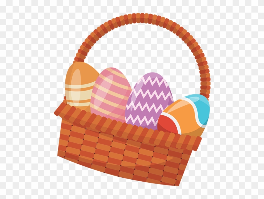 Easter Basket With Colorful Eggs, Easter Eggs - Conejos De Pascua Png #404190