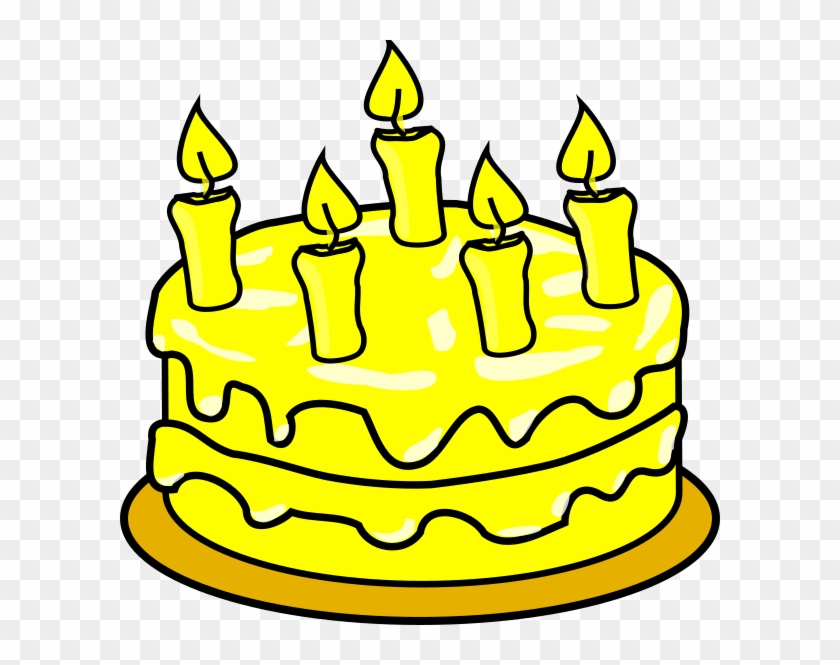 Yellow Cake Clip Art At Clker - Birthday Cake Coloring Page #406780