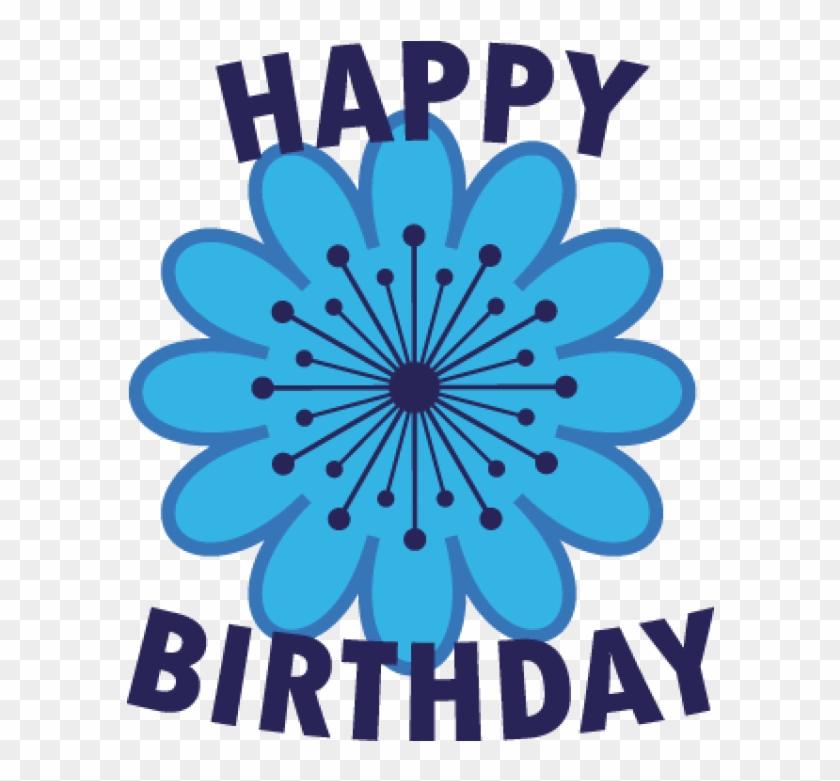 Happy Birthday Blue Flower Cute Golf Ball