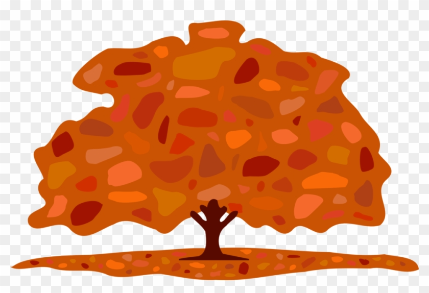 Autumn Leaves On Branch Clipart, Vector Clip Art Online, - Trees In Fall Cartoon #409022