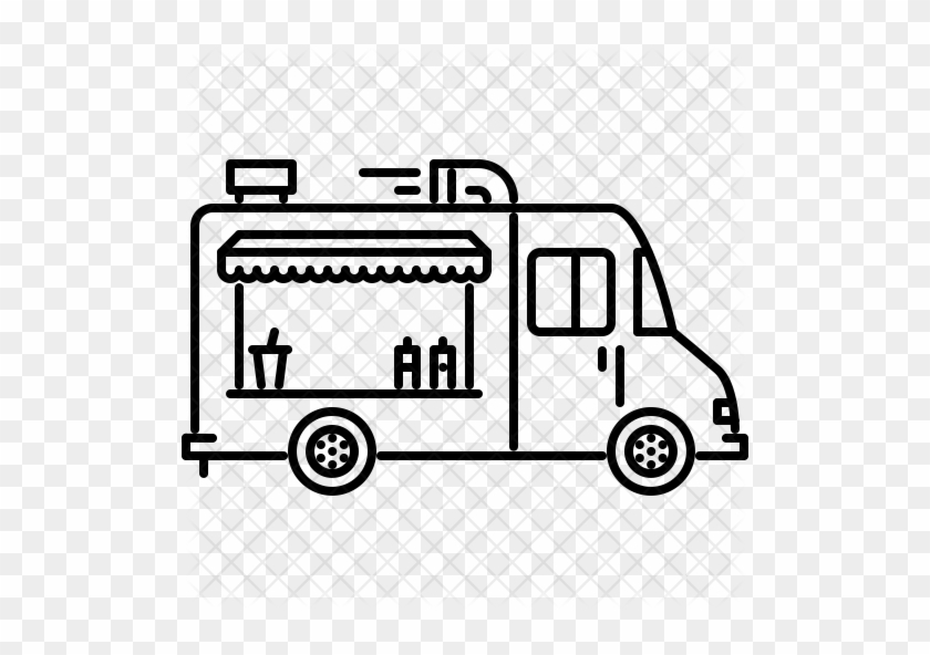 Food Truck Icon - Outline Of A Food Truck #409446