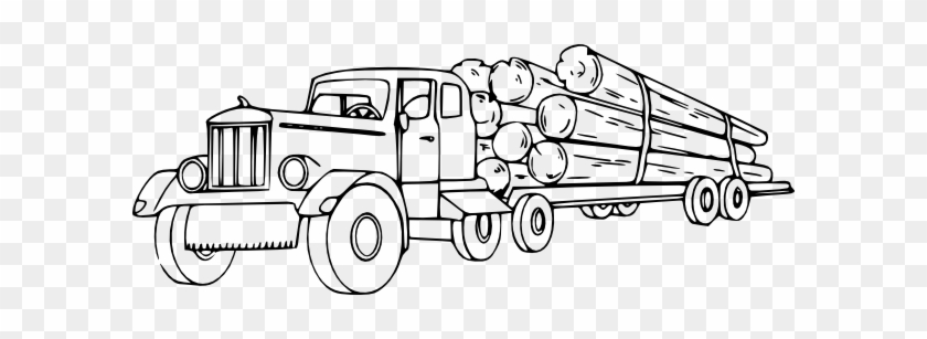 Logging Truck Clipart - Log Truck Coloring Page #409521