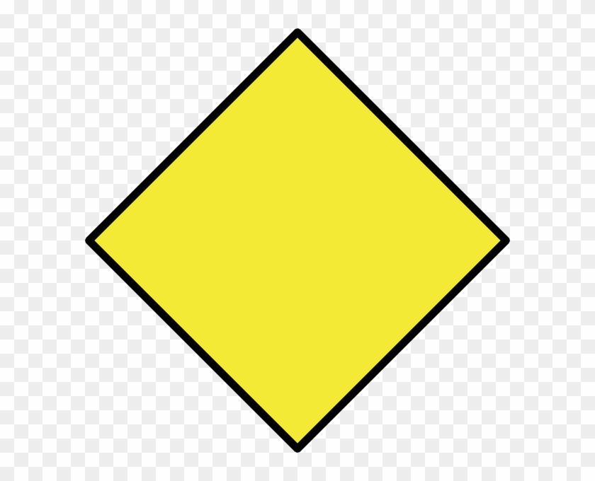 Diamond Clipart Rhombus - Blank Yellow Warning Sign #409972