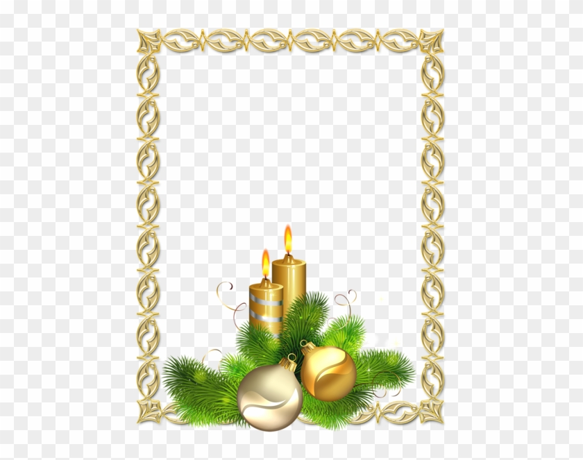 Large Transparent Gold Christmas Photo Frame With Candles - Gold Christmas Frame #410191