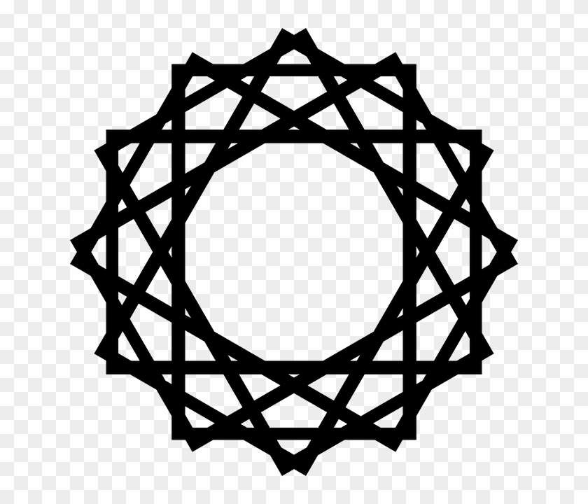 White Black Simple Star Pattern Figure Design Islamic Design