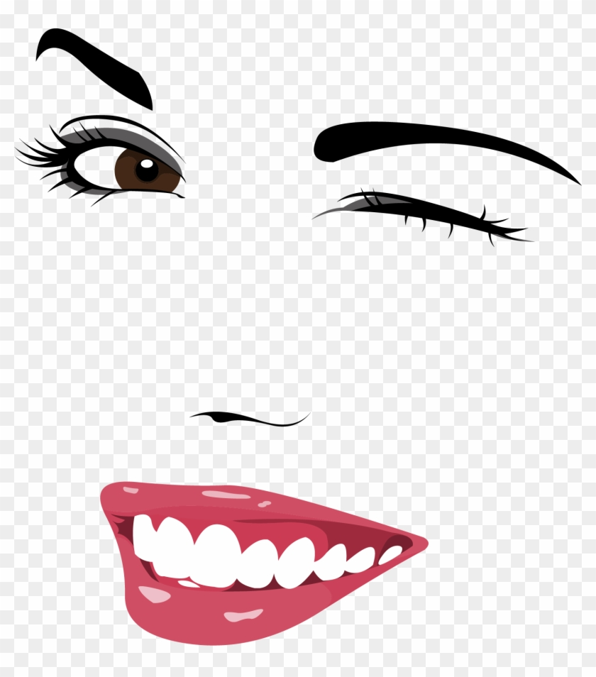 Wink Eyebrow Facial Expression - Lady Face Vector Free Download #410784