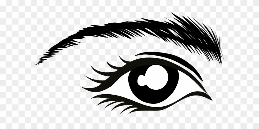 Eye Eyebrow Lashes Mascara Stare Watch Bla - Eye Clip Art #410814