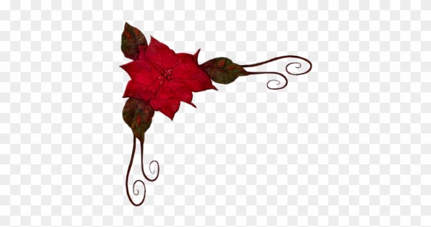 Tubes Noel Et Nouvel Clipart - Bordure Fleurs Rouge Et Noir #410927