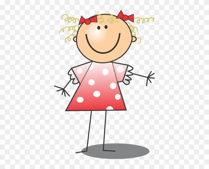 Get Dressed Clip Art Kids - Cartoon Stick Figure Girl Charms #414854