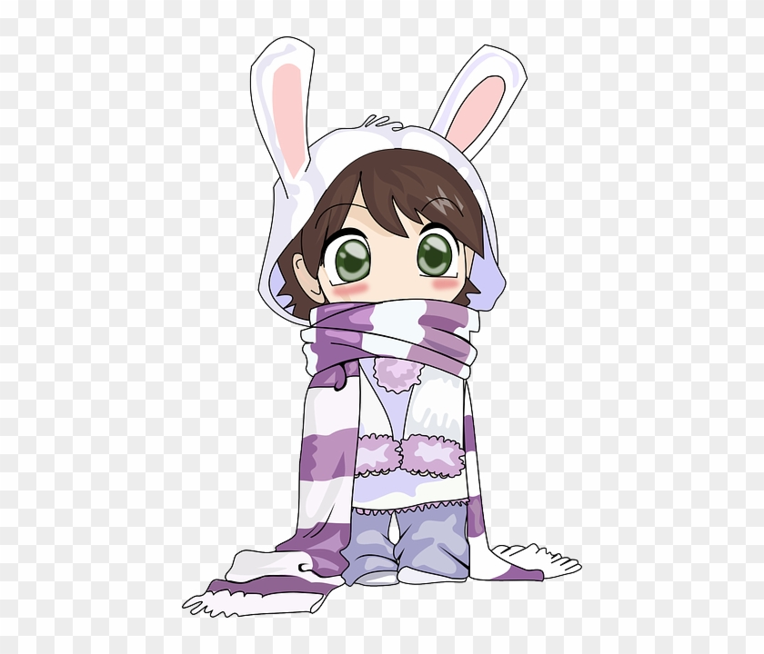 Girl Cute Cold Winter Bunny Anime Scarf