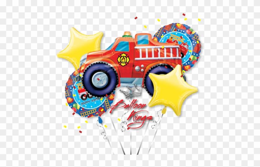 Fire Engine Bouquet - Birthday Party Fire Truck Balloon (each) #416307