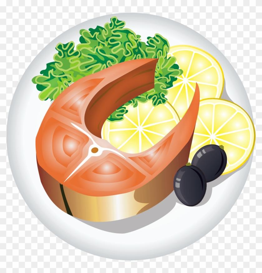 Roast Clipart Main Dish - Fish Dish Clipart #416346