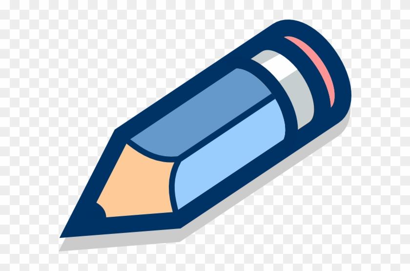 Blue Pencil Tilted Clip Art At Clker Com Vector Clip - Logo Of A Pencil #416973