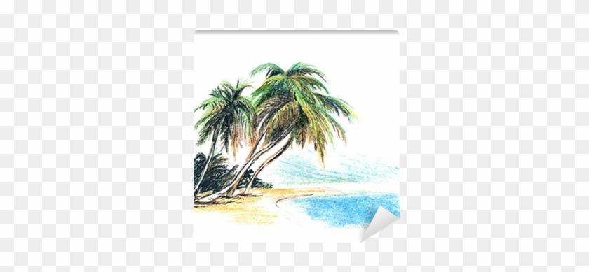 Fotomural Dibujo Playa Con Palmeras - Palm Tree And Beach Drawing #417672