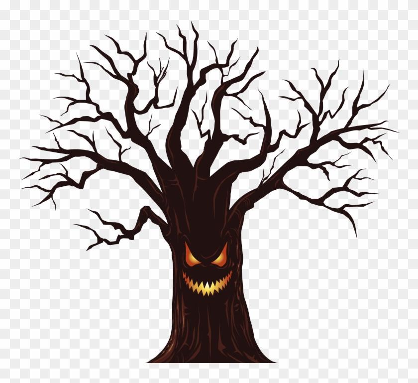 Spooky Tree Clip Art - Scary Tree Cartoon Png #418621