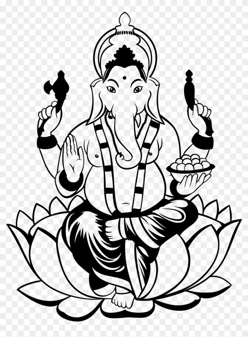 Ganesha Drawing Clip Art - Ganesh Black & White - Free Transparent