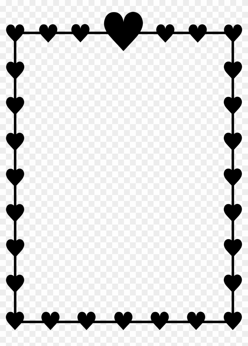 Heart Border Clipart Black And White Valentines Day Left Right