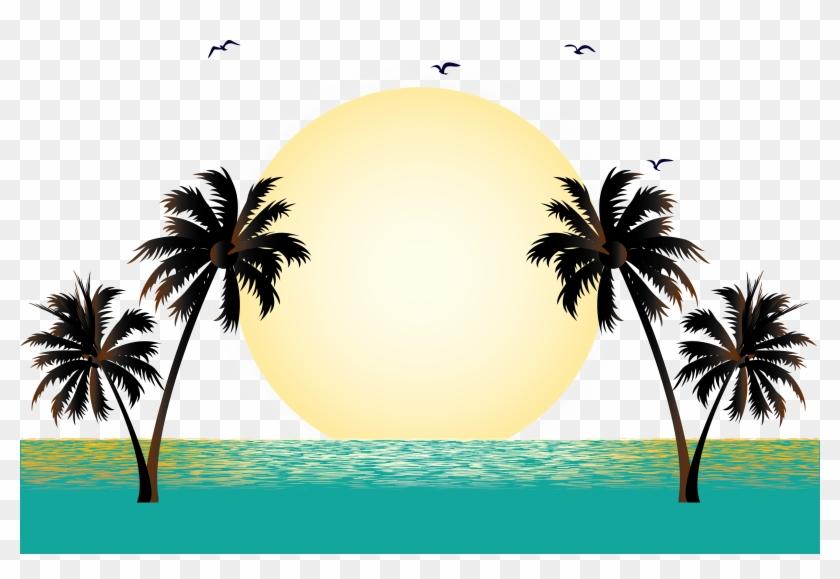 Summer Vacation Beach - Palm Tree Silhouette Clip Art #420410