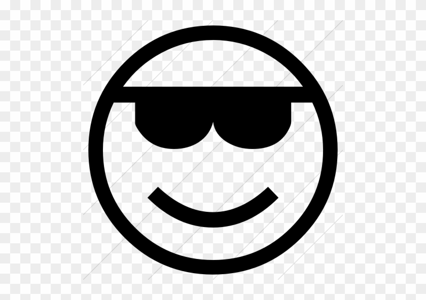 Classic Emoticons Smiling Face With Sunglasses Icon - Emoticons ...