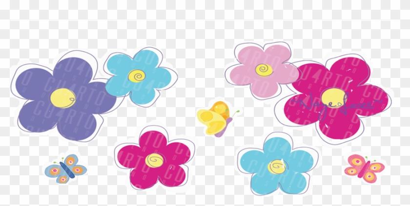 Flores De Colores Dibujo Png