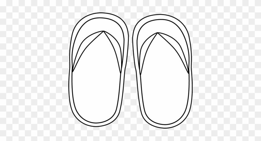 Black And White Flip Flops Clip Art - Line Art #68240
