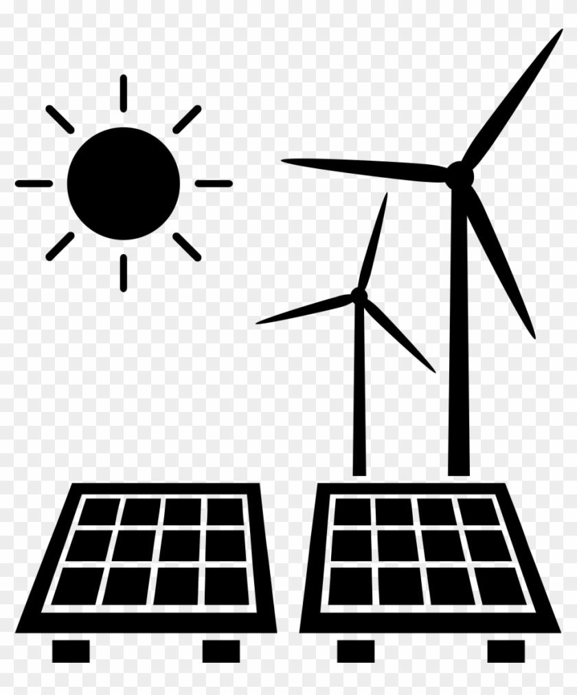 Sun Turbine Panel - Solar And Wind Energy Icon #68293