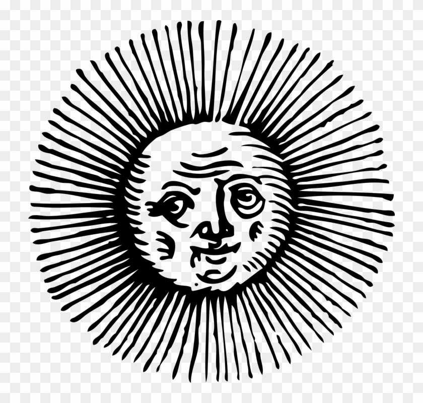 Sun Sketch Eyes Face Sunshine Smiling Woodcut - Old Sun Drawings Png #68434