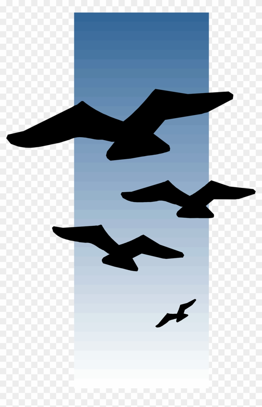Seagull Clipart Bird Fly - Paint Birds Flying In The Distance #68614
