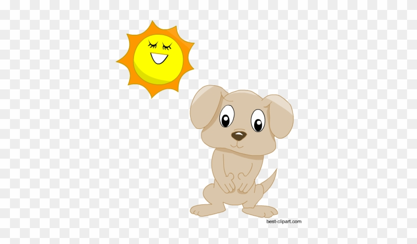 Cute Dog And Sun Free Clipart - Puppy #68852