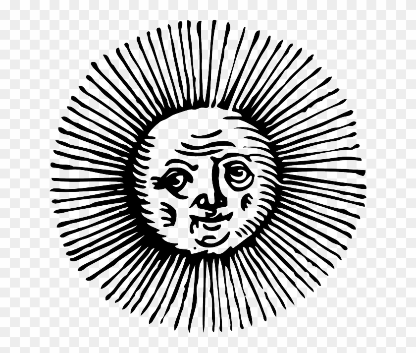 Old, Black, Outline, Moon, Face, Sun, White - Old Sun Drawings Png #68886