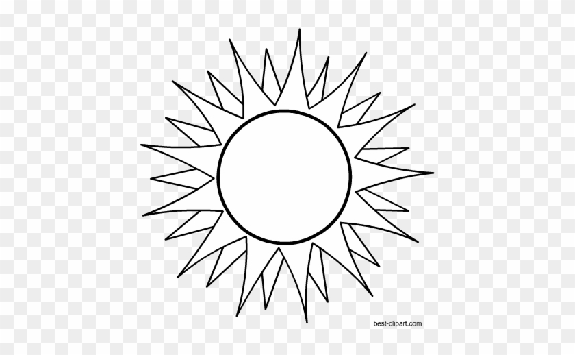 Black And White Hot Sun Clip Art - Illustration #68913