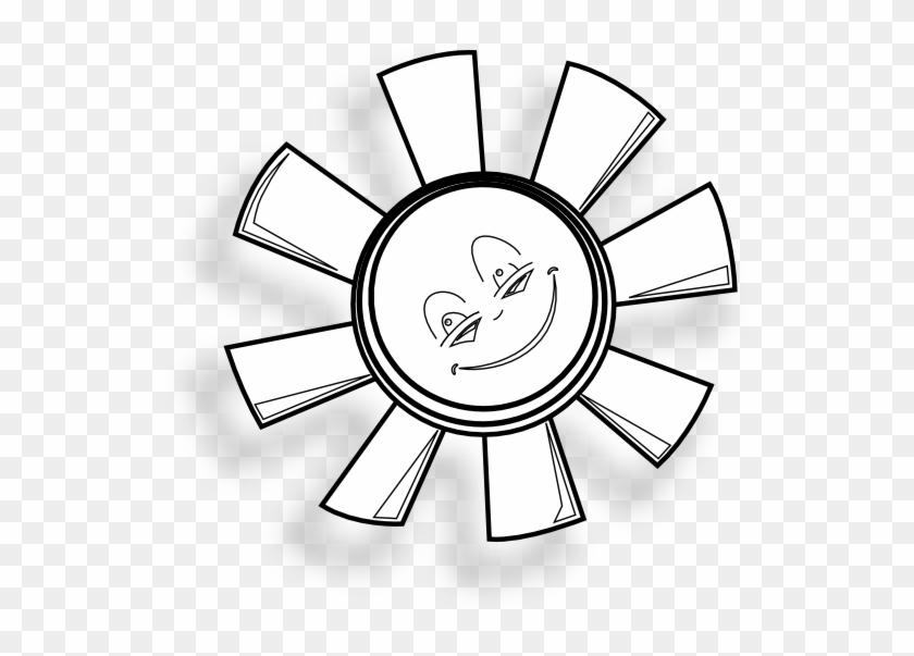 Happy Sun Gm Black White Line Art 555px - Sun Black And White Clipcart #68953