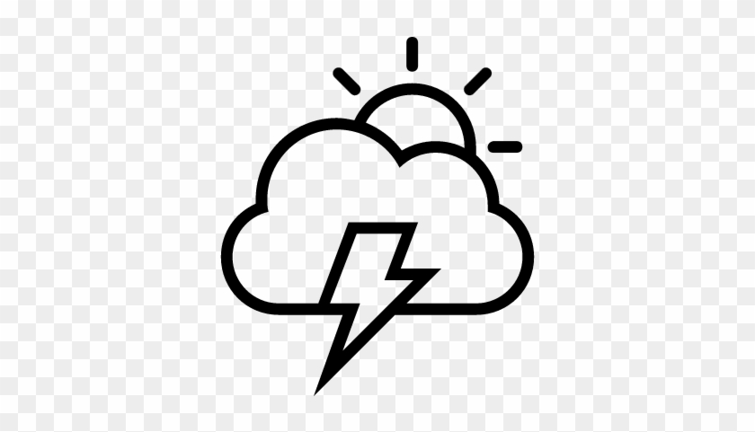 Storm Day Weather Interface Symbol Of Sun, Cloud And - Lightning Bolt And Cloud Outline #69088