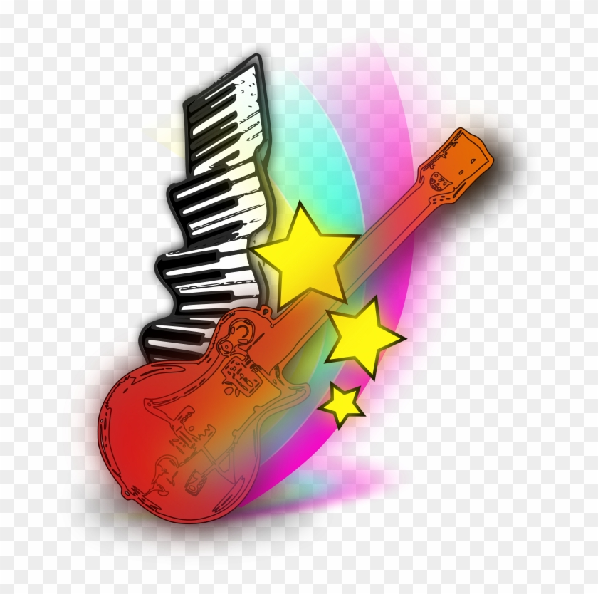 Music Note Clip Art Free - Music Keyboard And Guitar #69257