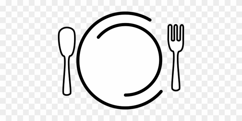 Dishes Plate Fork Spoon Food Restaurant Ea - Food Clip Art No Background #70046