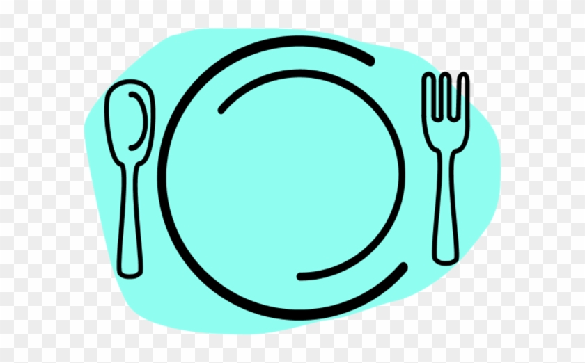 Dinner Plate With Spoon And Fork Vector Clip Art - Food Clipart #70424