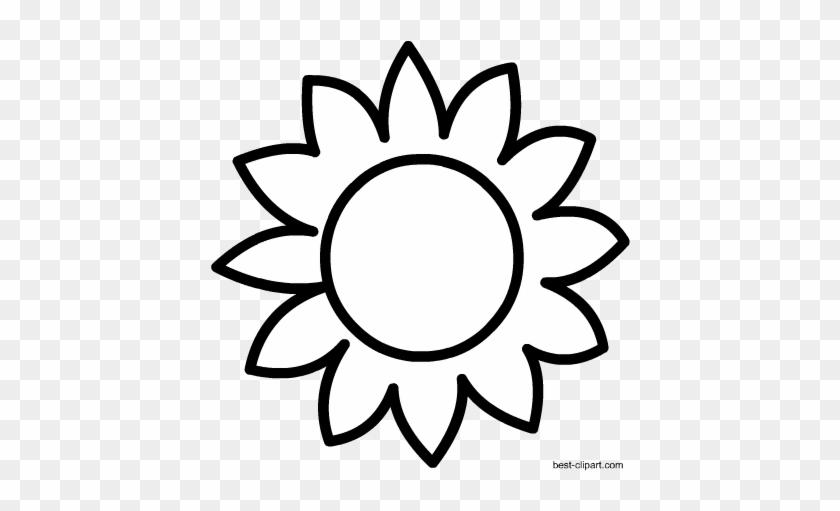 Black And White Sun Flower Clip Art - Sunflower Clipart Black And