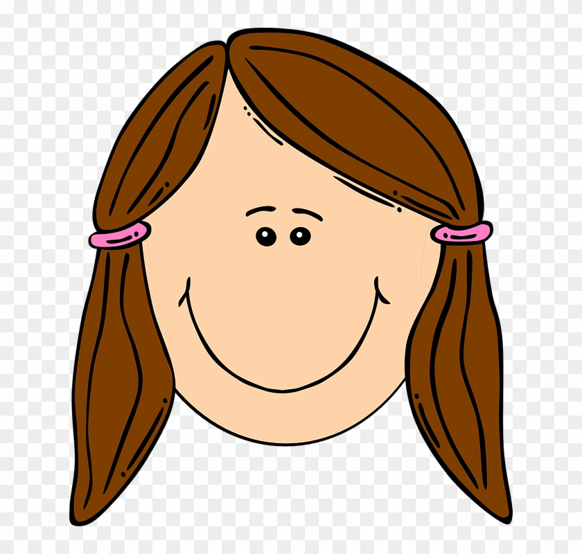 Winsome Smiling Clipart Girl With Brown Ponytails Clip - Sad Girl Face Cartoon #71066