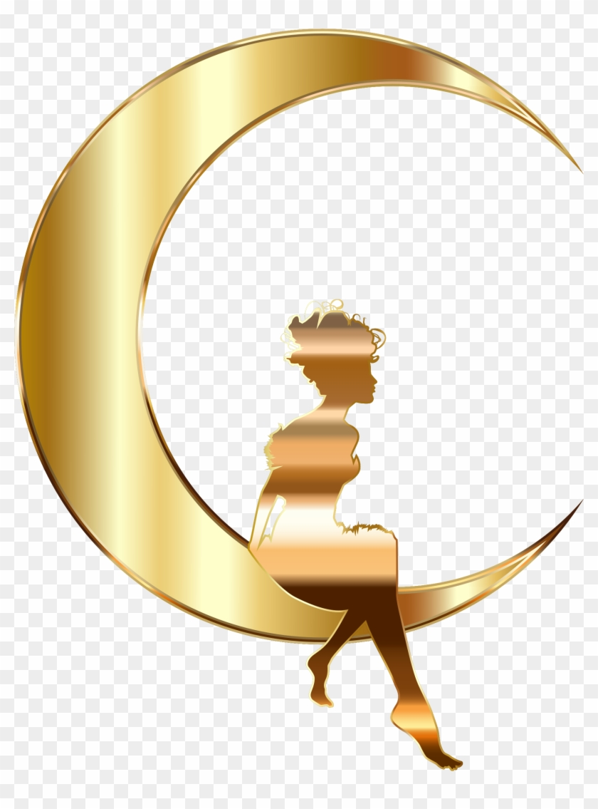 Moon Clipart Transparent Background - Gold Fairy Clipart #71301
