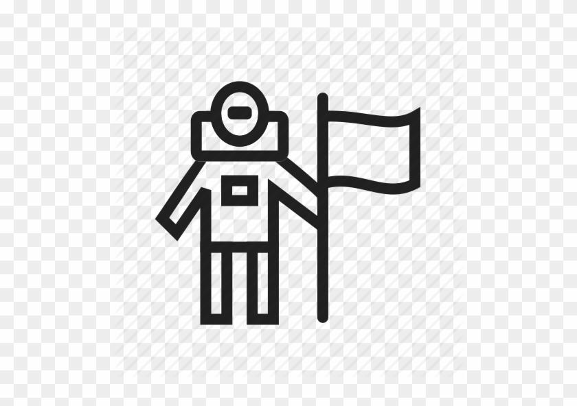 Astronaut, Flag, Landing, Man, Moon, Space, Success - Astronaut On The Moon Icon #71456