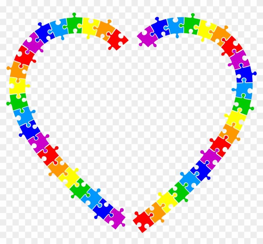 Big Image - Puzzle Pieces Heart Borders #71729
