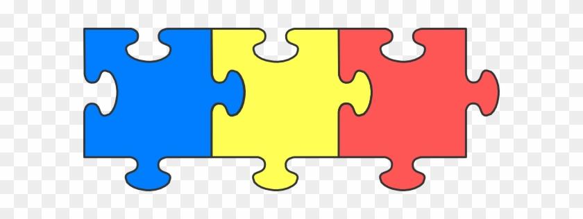 Puzzle Piece Top Svg Clip Arts 600 X 236 Px - 3 Puzzle Pieces Png #71757