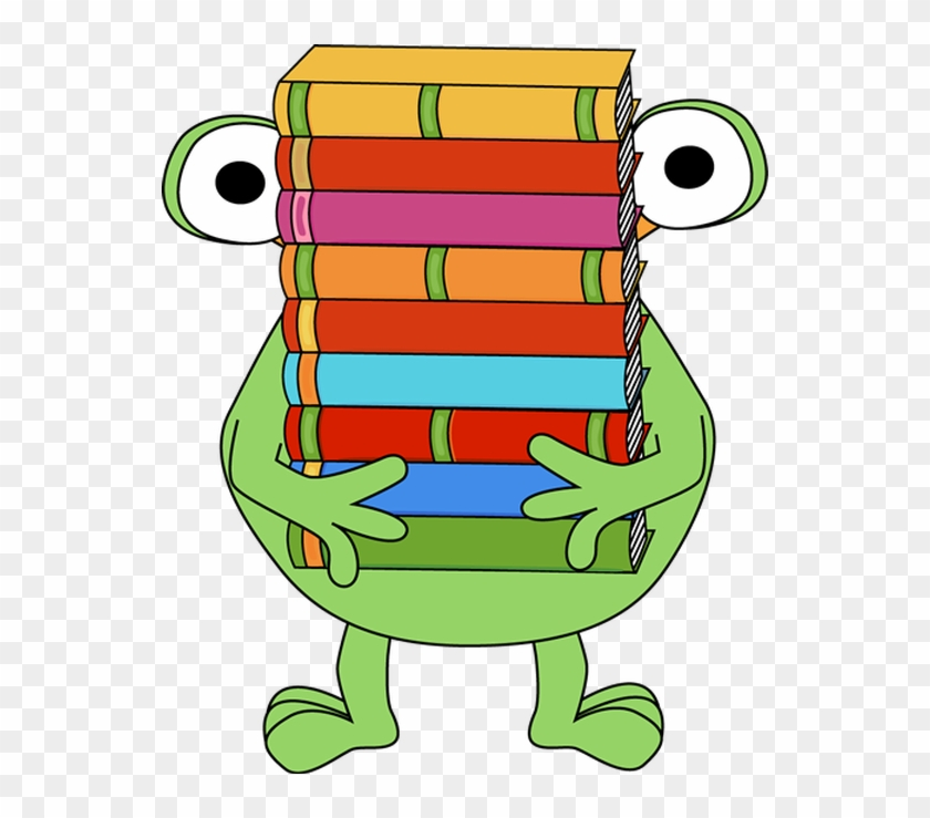 Monster Carrying A Stack Of Books - Monster Reading Clipart #71868