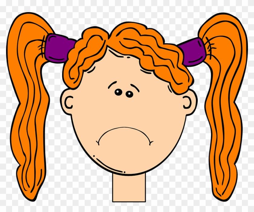 Winsome Design Sad Face Clipart Redhead Child Head - Sad Girl Face Clip Art #71956