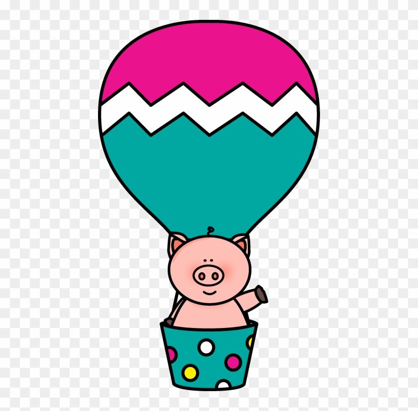 Pig In A Hot Air Balloon - Cute Hot Air Balloon Clipart #71990
