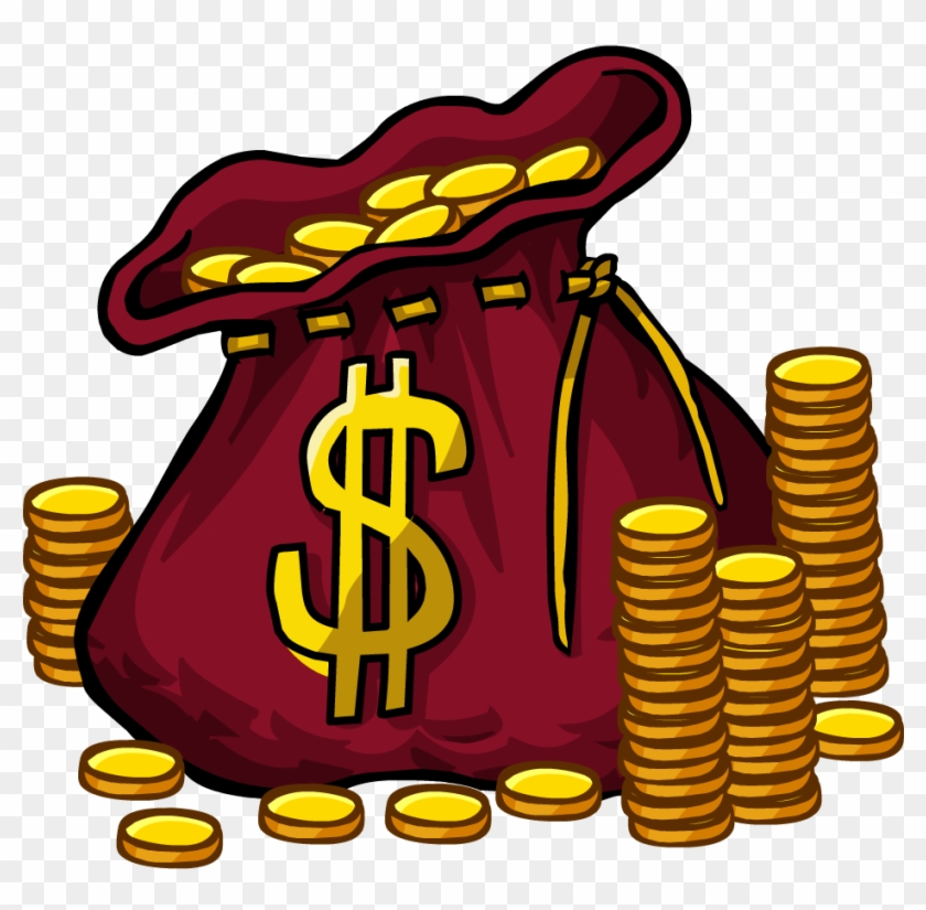 See Here Money Bag Clipart Black And White - Club Penguin Codes #73244