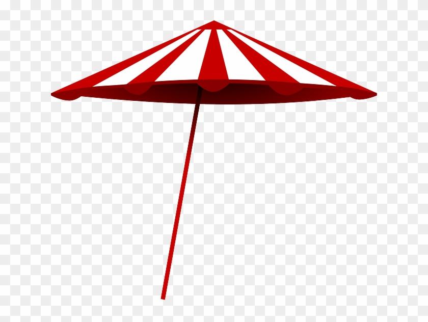 Red, Umbrella, Beach, Sun, White, Cartoon, Free, Summer - Beach Umbrella Clip Art #73451