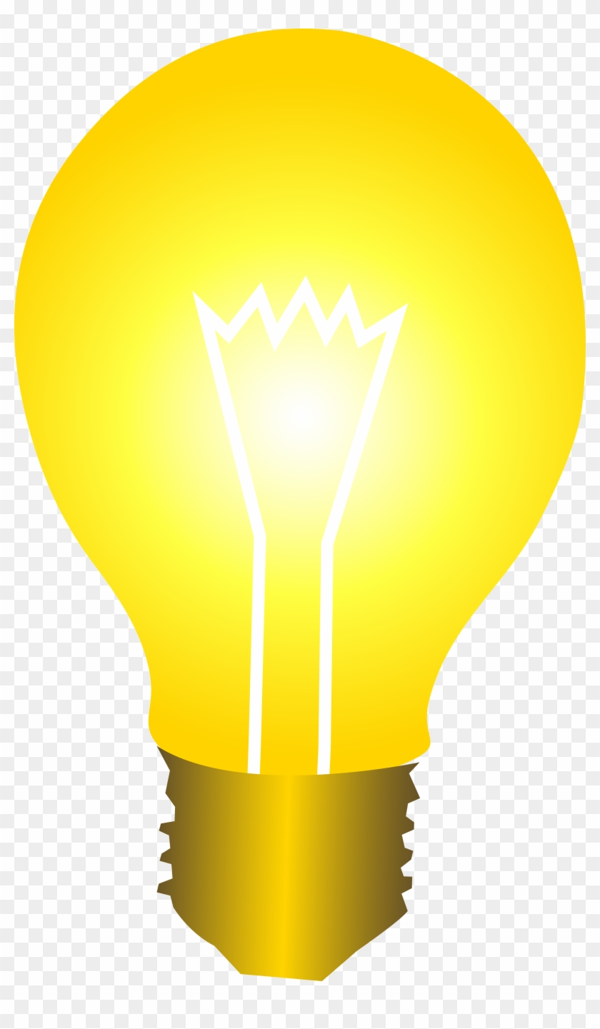 Bright Yellow Idea Light Bulb Clipart - Bright Yellow Light Bulb #75029